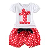 LittleSpring Baby Girl 1st Birthday Outfits Summer T Shirt and Shorts Clothes Set Red