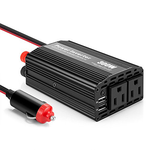 YINENN 300W Vehicle Power Inverter DC 12V to 110V AC Outlets and Car Inverter with 3.1A Dual USB Adapter