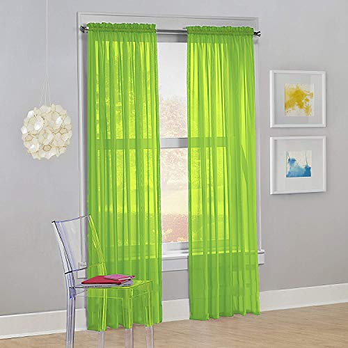 """Decotex Set of 2 Sheer Voile Transparent Window Panel Curtain Drapes (54"""" W X 84"""" L, Lime Green)"""