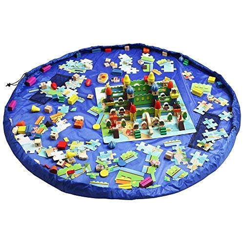 Funky Planet Bolsa de Almacenamiento de Juguetes para Lego, Bolsas de Organizador, Alfombra de Juego para niños de 60 Pulgadas (150 cm) - Organizador portátil de Juguetes para niños (Blue)