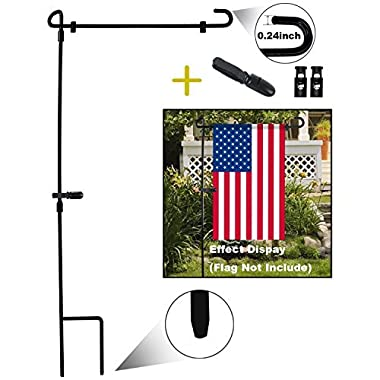 HOOSUN Garden Flag Stand, Premium Garden Flag Pole Holder Metal Wrought Iron Powder-Coated Weather-Proof Paint 36.5  H x 16.5  W (3 Piece Set Black) (1)