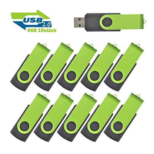 EASTBULL 4GB USB Sticks Einklappbarer USB 2.0 Transmemory Memory Stick, 10 stück Grün