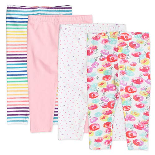 HonestBaby Pack de 4 Leggings de algodón orgánico para bebé, Flor de Rosa, 6-9 Meses
