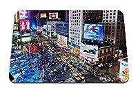 22cmx18cm マウスパッド (ニューヨークの活気のある通りの建物の夜) パターンカスタムの マウスパッド