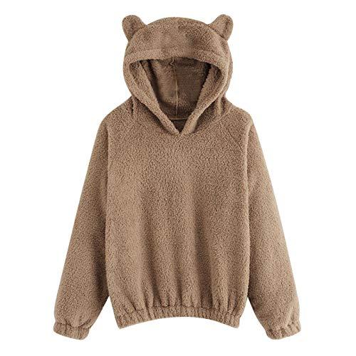 BUKINIE Damen Sherpa-Pullover, flauschiges Fleece, warm, niedlicher Teddybär-Kapuzenpullover Gr. XL, khaki
