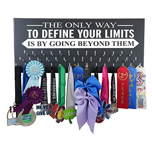 RunningontheWall Medal Hanger Medal Display Rack and Race Bibs The ONLY Way to Define Your Limits is by Going Beyond Them Medal Holder Only Design