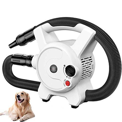 WAFOR Expulsor secador 2200W Secador Perros Profesional Calentador Soplador De Temperatura Ajustable con 1.5M De Manguera Flexible Y 3 Boquillas DieciséIs