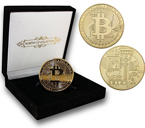 PfX Physische Goldene Bitcoin Sammler Münze [mit 24-Karat Echt-Gold überzogen] inklusive edlem Samt Münz-Etui (Gold)