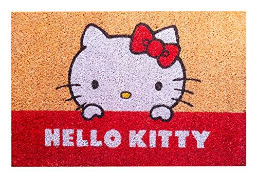 Felpudo Hello Kitty - Felpudo Entrada casa Antideslizante 40 x 60 cm - Alfombra Entrada casa Exterior │ Felpudos Originales Fabricados en Fibra de Coco - Productos con Licencia Oficial