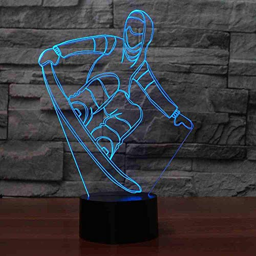 3D snowboarding tafellamp USB Visual Led Kleurrijke Nightlight Sleep Lighting Skiing Modelling Light Fixture New Year Gifts Decor