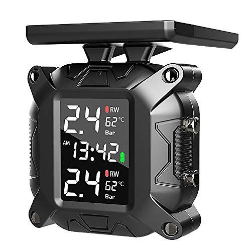 Andifany Sistema InaláMbrico de Control de PresióN de NeumáTicos TPMS de Motocicletas Alarma del Monitor de Temperatura de la Pantalla LCD del Sensor Externo Solar