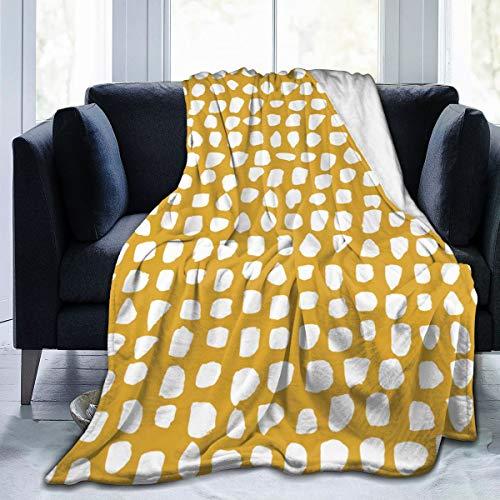 Gooi deken, knus fleece deken, warm super zacht comfort zorg cadeau voor kinderen en volwassenen, 152cm x 127cm, stippen mosterd