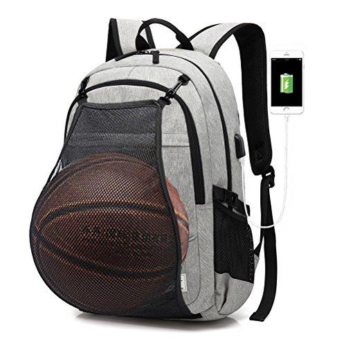 FEWOFJ Mochila Ordenador Portatil Impermeable 15.6 Pulgadas, Mochilas Escolares Mochila Deportiva con Puerto de Carga USB Red de Baloncesto (Gris)