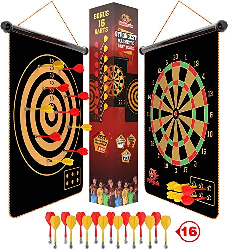 Fungenix, Magnetic Dart Board For Kids, Indoor Outdoor Darts Game, 16pcs Magnetic Darts, Double Sided Board Games Set