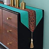 テーブルランナーキッチン ホリデーパーティーのためのタッセルテーブルランナーパーフェクトと日常的に使用してキッチンテーブルランナーテクスチャ織テーブルランナーやリネンストリップ、4色 (Color : Green, Size : 34x260cm)