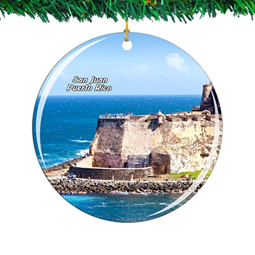 Weekino San Juan National Historic Site Puerto Rico Christmas Ornament City Travel Souvenir Collection Double Sided Porcelain 2.85 Inch Hanging Tree Decoration