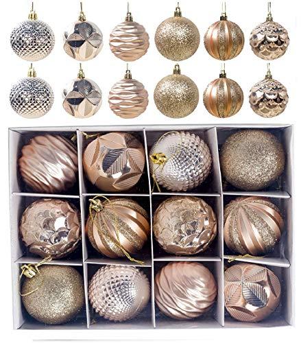 ZHYChristmasballs Palle di Natale Oro, 12 Pezzi 6 cm Palline di Natale Decorazioni Albero di Natale Palline, con Palle Glitterata Lucida e Opaca Albero di Natale Decorativi Ciondoli Regalo di Natale