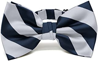 navy blue and silver bow tie