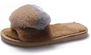 Mannen Memory Slippers Cadeau voor Families, Dames Bont Slippers Slippers Plat, Damesschoenen Bont Slipper Platte Hak Voor...