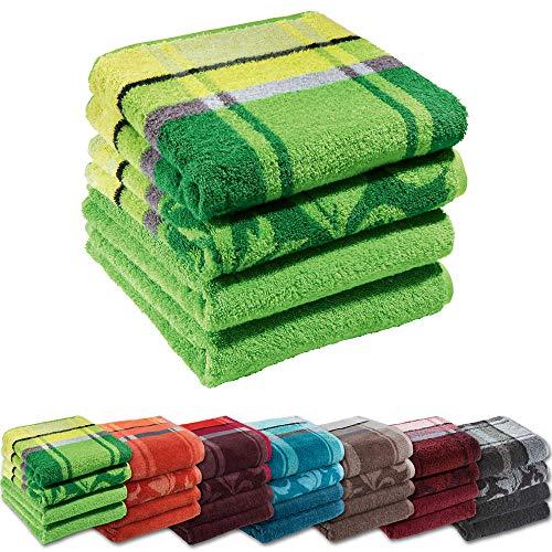 Erwin Müller Handtuch-Set 4er-Pack - 100% Baumwolle - apfelgrün Größe 50x100 cm - kuschelweich, saugstark, voluminös - praktisch durch beidseitige Schlaufen (weitere Farben)