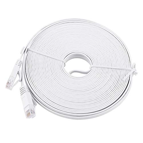 Red Ethernet Cable LAN plano-RJ45 CAT6 Red Ethernet Cable LAN plano UTP Patch Router Cables 1000M Blanco(15M)