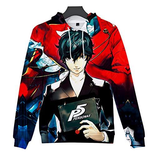 YTQQ-Persona-Unisex 3D Sweater Streetwear, Anime Cartoon Cosplay Disfraz Sudadera Pullover Suter con cordn,Sudadera con Bolsillo de Canguro-XS