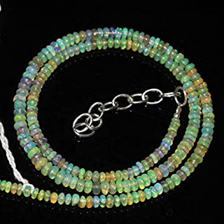 """Jewel Beads Natural Beautiful jewellery Natural Welo Ethiopian Opal Smooth Rondelle Necklace 4mm 2mm 16""""Code:- JBB-47208"""