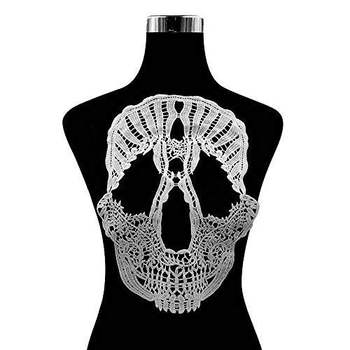 Uteruik Totenkopf-Aufnäher, bestickt, zum Aufnähen auf Kleidung, Kleid, Motiv, Applikation, Kragendekoration (#A)