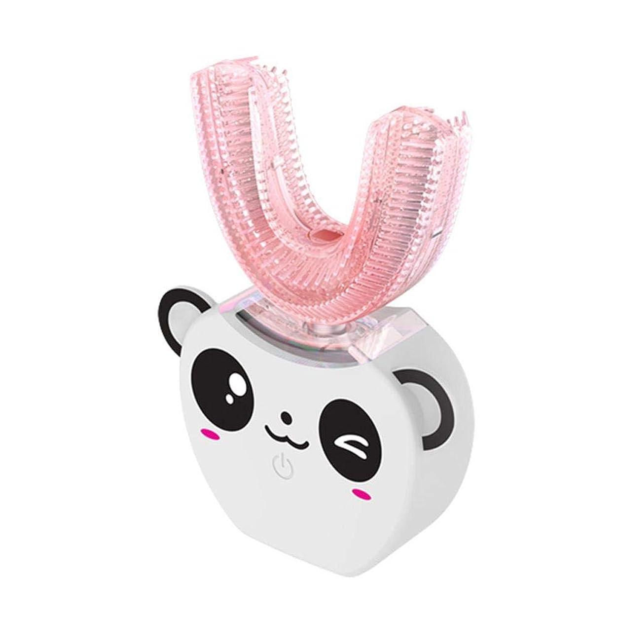 献身超高層ビル応援する電動歯ブラシ U型 360°全方位 自動歯ブラシ 柔らかいシリコーンブラシヘッド 超音波 怠け者歯ブラシ ワイヤレス充電 より深い清掃 虫歯予防 かわいいデザイン 子供用