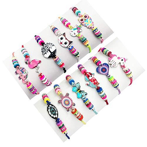 LURICO 12 Pièces Bracelet Amitié Fille, Cordon Tressé Enfant Bracelet , Licorne Ajustable Tressé pour la Cheville de Poignet Bracelet Anniversaire Cadeau de Fête 4 Ans - 11Ans Bracelet Enfant Fille