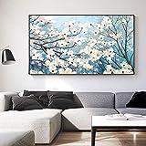 Pinturas en lienzo Hermosa flor blanca Árbol Impresiones de imágenes y póster Dormitorio Sala de estar Sofá Fondo Arte de la pared Decoración 31.4 'x51.1' (80x130cm) Sin marco