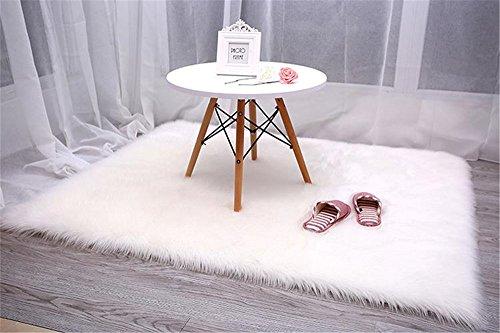 Faux Fur Sheepskin Area Rug, Baby Bedroom Rugs Fluffy Rug Home Decorative Shaggy Rectangle Carpet, 2x3 Feet, White