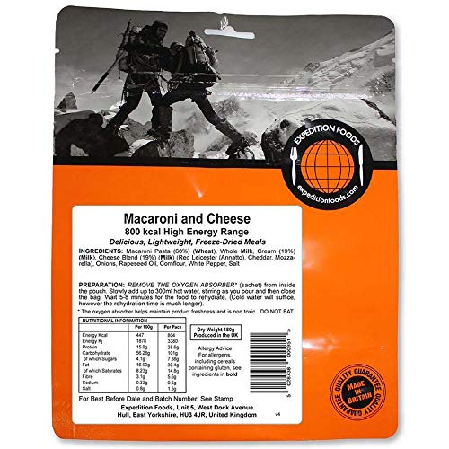 EXPEDITION FOODSexpeditionfoods.com Expedition Foods High Energy Serving Macaroni and Cheese-Orange, 800kcal