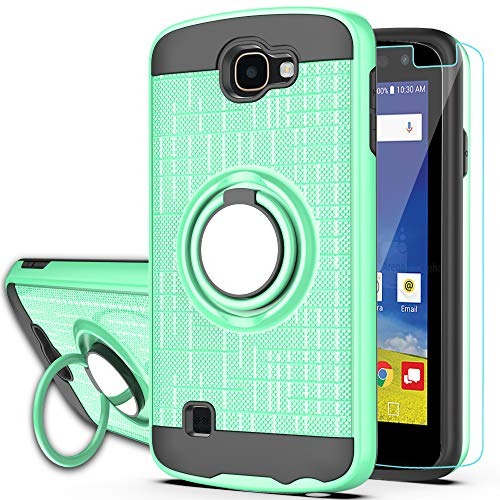LG Optimus Zone 3 Case, LG Spree Case,LG Rebel LTE Case with HD Phone Screen Protector,Ymhxcy 360 Degree Rotating Ring & Bracket Dual Layer Resistant Back Cover for LG K4 (2016)/VS425-ZH-Mint