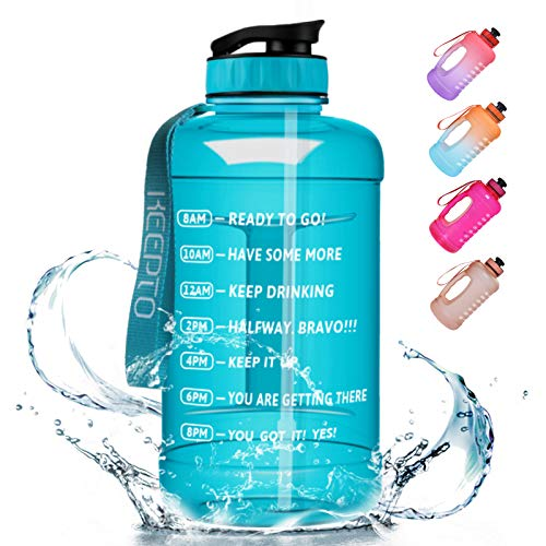 KEEPTO Half Gallon/64oz Leakproof BPA Free Water Bottle with Motivational Time Marker, Straw&Handle, Ensure Enough Water-Drinking Amount for Fitness and Outdoor Sports(Included Straw Brush)