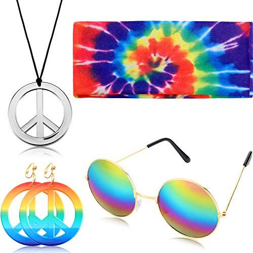 Geyoga El Conjunto de Disfraces de 4 Piezas de Hippie Incluye el Signo de la Paz, el Arete del Arco Iris, la Diadema y Las Gafas de Sol Redondas.(Colgante de Plata)
