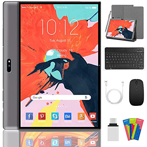 Android 10 Tablet 10 Inch Tablets,3GB RAM+32GB ROM/128 GB Quad-core Processor,5MP+8MP Rear Camera 4G LTE,8000mAh Battery life,WIFI,Bluetooth,GPS,Google play(gray)