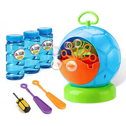 Fansteck Bubble Machine - Bubble Machine for Toddler and Kids Outdoors - Automatic Bubble Maker 800+ Bubbles per Minute - Easy to Use for Christmas, Parties, Wedding - Battery Bubble Blower Machine