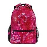 Ahomy Mochila Escolar para Adolescentes, niñas, Día de San Valentín, corazón Rojo está Relleno por la Mochila de Viaje de Flores, Bolsa de Senderismo para Mujeres y Hombres