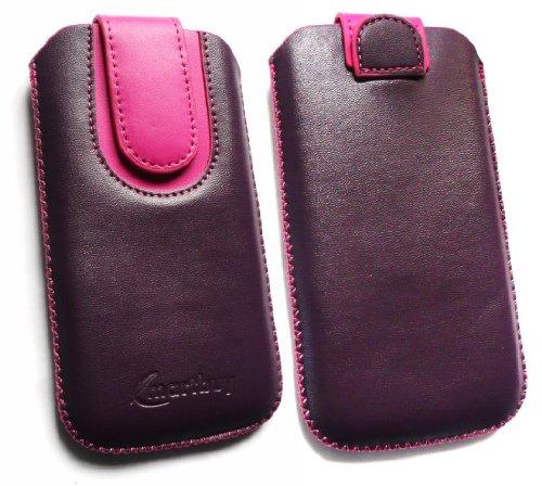 Emartbuy® Lila / Hot Rosa PU Leder Slide in Hülle Tasche sleeve Halter ( Größe 3XL ) Mit Zuglasche Mechanismus Geeignet Für Slok D1 Dual Sim Smartphone