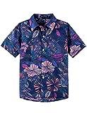 Spring&Gege Chemise hawaïenne à manches courtes pour garçons, chemise à col boutonné avec imprimé dessin animé Aloha (4-14ans), Feuille violette., 9-10 ans