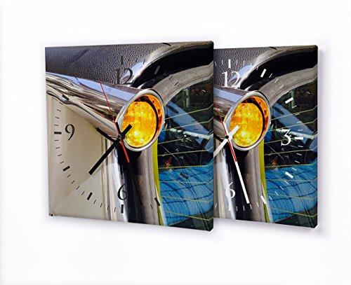 Printalio - Oldtimer Rücklicht - Lautlose Wanduhr mit Fotodruck auf Leinwand Keilrahmen | geräuschlos kein Ticken Fotouhr Bilderuhr Motivuhr Küchenuhr modern hochwertig Quarz | 30 cm x 30 cm mit schw