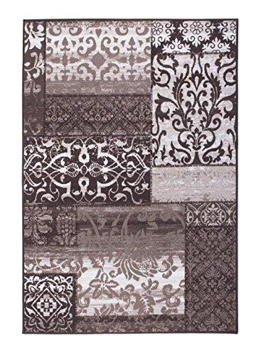 Andiamo - Tappeto patina di design, a pelo corto, motivo decorativo, talpa, 57 x 180 cm