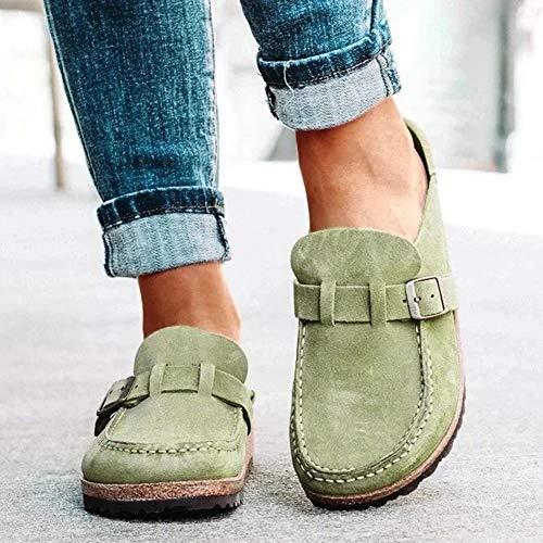 OcaseQ Sandalias de Planas para Mujer Verano 2020 Moda Pala Cerrada Zuecos Cómodo Ligero Antideslizantes Zapatillas para Jardín,Verde,37