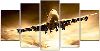sechars 5 Piece Large Canvas Painting Wall Art Airplane at Sunset Picture Print on Canvas for Living Room Bedroom Decor Vintage Aircraft Poster Giclee Artwork Stretched and Framed Ready to Hang