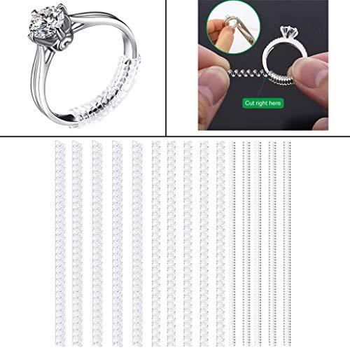 15 Stück Ringgröße Einsteller Schmuck Guard für Alle Losen Ringe Ringgrößenversteller mit 3 Größen Clear Ring Sizer Resizer Fit für lose Ringe (15 PC)