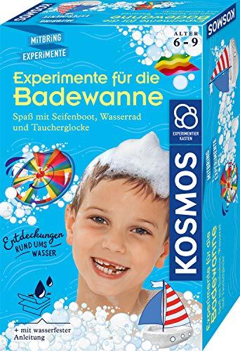 KOSMOS 657833 Experimente für die Badewanne, Experimentier-Spaß mit Seifenboot, Wasserrad und Taucherglocke, Forscher-Set, Experimentierset für Kinder, Badewannen-Spielzeug ab 6 Jahre