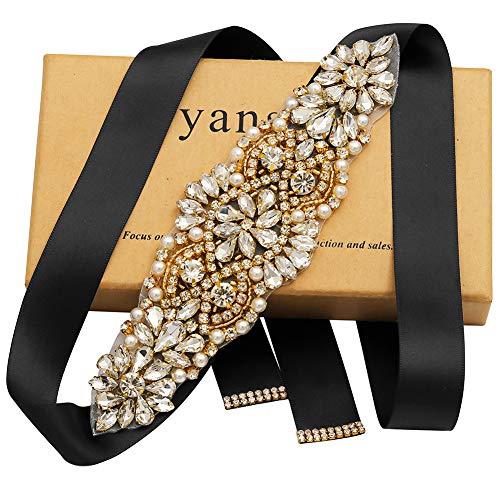Yanstar Bridal Belt Handmade Rhinestone Crystal Beads Wedding Dress Belt