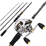 Baitcast Rod Reel Combo Portable 4 Section M Power Casting Fishing Pole with 11+1BB Baitcasting Fishing Reel Kit-1.8M and Left Hand-