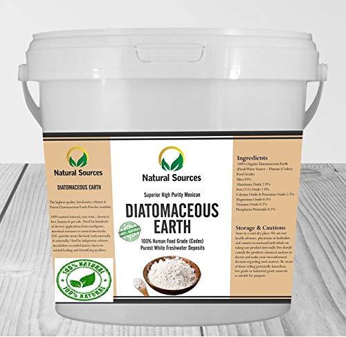 Natural Sources Terre de diatomée - Blanche, Non calcinée - De qualité Alimentaire Superior 500g - 100% Natural Terre de Diatomée d'Eau Douce en Poudre. Produit à Multiples utilisations,
